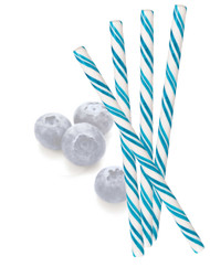 Circus Candy Sticks Blue/White 10 pieces