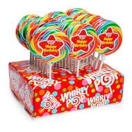 """3"""" Whirly Lollipops Happy Birthday 60 units 1 Case 1.5oz"""