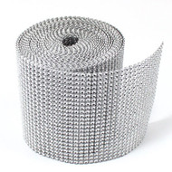 Silver Diamond Rhinestone Ribbon Wrap 2 Yards