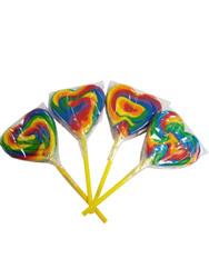 Heart Lollipop Middle Size Rainbow 12 Count