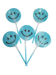 Happy face Blue Lollipop 12 Count