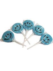 Teeny Happy face Blue Lollipop 12 Count