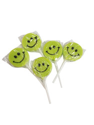Teeny Happy face Green Lollipop 12 Count