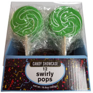 Swirly 3 Inch Round Pops Green 12 Count