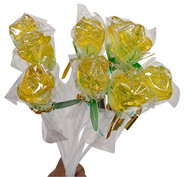 Bendy Pop Long Rose Shaped Yellow Lollipop