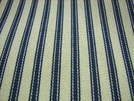 French Ticking Fabric Blue Cream
