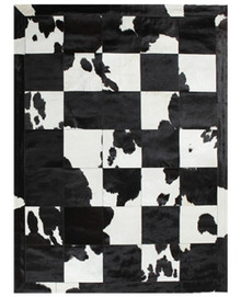Spanish Carousel Patchwork Leather Black And White Rug 170x230cm