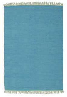 Abby Code Blue Flat Weave Cotton Rug