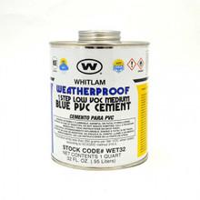 Whitlam All Weather Low VOC Blue Medium Bodied PVC Cement - 1 Quart