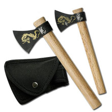 Dragon Design 2 Piece Fantasy Axe Set