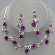 Purple Flower Necklace Set