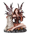 "13.5"" Beautifully detailed Autumn Fairy with eagle and wolf"