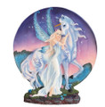 A fairy on a unicorn wrapped in a dish.