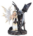 "19"" wide Fairy kneeling next to a large black Dragon"