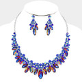 Enriched blue necklace set with flaming stones to dramatize it's beauty.