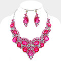 Fiery pink necklace set with a few sparkles of aurora borealis.