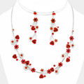 Beautifully scattered roses mixed with crystals in necklace set.