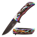 Wildlife Spring Assist knife with Damascus Design