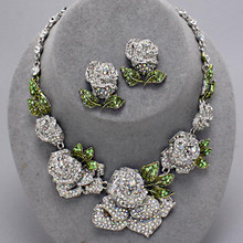 Crystal Rose Necklace Set