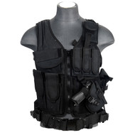 Lancer Tactical CA-310B Fully Adjustable Black Cross Draw Vest