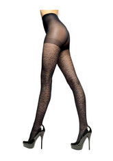 Kardashian Kollection Leopard Net Black Tights