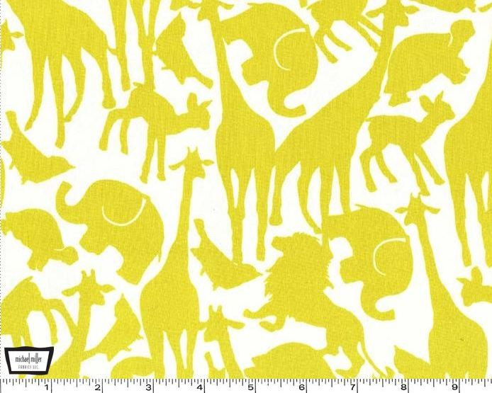 Oh Baby Animal Silhouettes Citron Cotton Print Fabric By