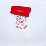 Personalised Baby's 1st Christmas Sock - White