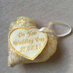 Handmade Wedding Day Heart  - Gold
