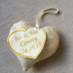 Handmade Wedding Day Heart  - Gold Glitter