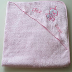 Personalised Pink Baby Bear Bath Towel