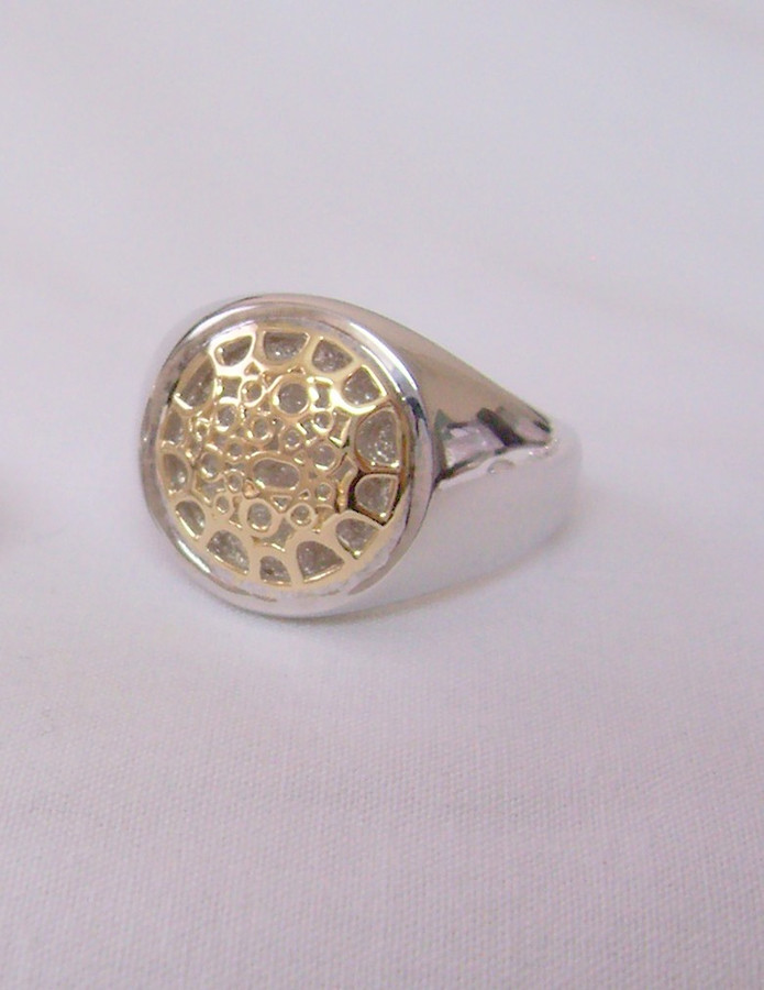 Tenor Pan Hoop Ring : Silver with 14K gold