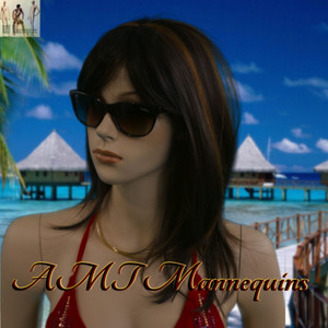 Wig 014: Dark Brown with Brunette highlights - mid-chest length