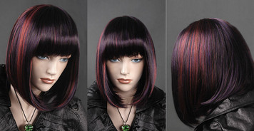 Wig 422: Dark Brown with Red and Blue highlights - chin level