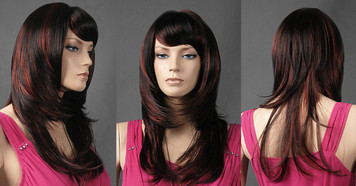 Wig 074: Black with Red highlights - mid-back or bra strap length