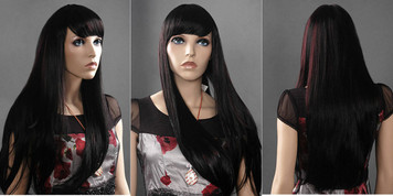 Wig 251: Black with red highlights - waist length