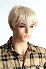 In this closeup shot, mannequin Mike wears a short blond wig / hairpiece along with a plaid shirt. Mannequin Mike can be displayed with or without a wig / hairpiece.  Glass stand and support hardware included.