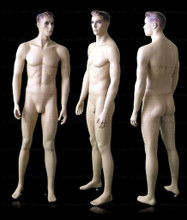 In this composite full body view photo, naked mannequin Mark, stands with his legs even with his arms straight at his sides.  Mannequin Mark can be displayed with or without a wig / hairpiece.  Glass stand and support hardware included.