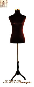 Dress Form Torso Black - Female (wood base)
