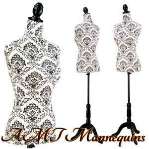 Dress Form Torso Black/White Pattern (YCV018) - Female (BLACK base)