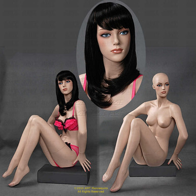 In this composite photo, Suzy displays two full length views and a close up of her face.  As our customers tell us, you can see how realistic she looks.  As your silent salesperson, Suzy flatters clothing, jewelry, and accessories drawing customers' attention to your products.  With easily detached arms, hands, and legs, easily dress her in a variety of outfits.  Suzy sits with both legs forward and bent with her knees almost touching.  Both hands are at or below the waist.  With pierced ears,Suzy can also present jewelry.  As you can see different wigs can totally change Suzy's appearance.  Go from classic and conservative to frisky and wild - you choose. Add light makeup for the final touch of realism.