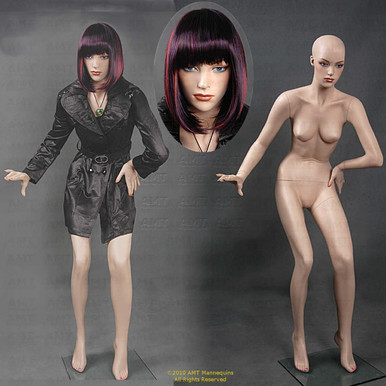 In this composite photo, Clio displays two full length views and a close up of her face.  As our customers tell us, you can see how realistic she looks.  As your silent salesperson, Clio flatters clothing, jewelry, and accessories drawing customers' attention to your products.  With easily detached arms, hands, and legs, easily dress her in a variety of outfits.  Clio stands with both legs bent and  her left leg slightly forward.  Both hands are at or below the waist.  The included glass stand stabilizes her for display.  With pierced ears, Clio can also present jewelry.  As you can see different wigs can totally change Clio's appearance.  Go from classic and conservative to frisky and wild - you choose. Add light makeup for the final touch of realism.