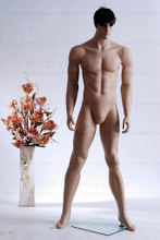 In this full body view photo, wearing a short dark brunette wig / hairpiece, mannequin Matt stands with his legs apart in an even stance, with both hands almost straight down at hip level.  Mannequin Matt can be displayed with or without a wig / hairpiece.  Glass stand and support hardware included.
