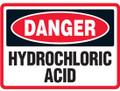 Danger Hydrochloric Acid Sign, Stick-On-Vinyl (Muratic Acid)