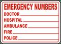 Emergency Phone Numbers Sign