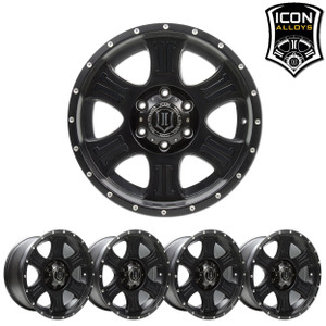 "Icon Alloys  - Shield - Black 17x8.5"" - 5x5"" PROMO - 4 + 1 FREE"