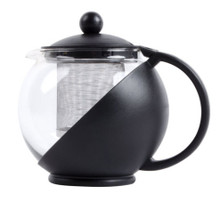 This 25 oz. tempered glass tea pot infuser with stainless steel basket is the perfect unit if you're looking to freshly steep and serve tea! Its body is made of durable black polypropylene plastic while the carafe is made of tempered glass, providing product visibility so you, your employees, or your guests can see how much tea is left to serve. Its stainless steel infuser holds all varieties of loose tea leaves, and is removable to prevent over-steeping and for easy cleaning. This teapot is also perfect for brewing and presenting tea flowers. To use, simply remove tea pot lid and insert the infuser. Add your tea leaves or bags as recommended by the tea manufacturer then pour heated water into infuser and replace the lid until tea has finished steeping. Steep up to 25 ounces of tea! Perfect for your catering event, buffet, cafe, coffee shop or diner, this glass tea pot has a classic shape with a modern styling and appeal.