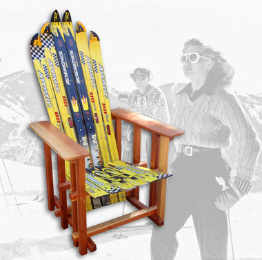 Atomic and Rossignol slalom skis, combined with varnished, nude redwood makes a colorful statement.