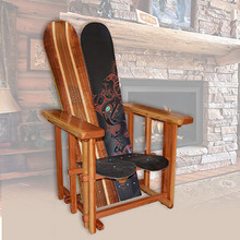 Mission Style Snowboard Chair using Vintage Burton Boards, and varnished natural redwood.