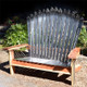 Adirondack Ski Bench made up entirely of Volant skis and varnished redwood.
