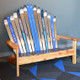 A classic Adirondack bench perfect color coordinated for an office entry area. Shown with varnished redwood.